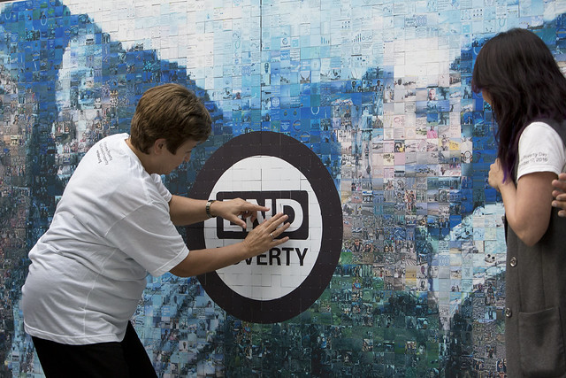 Tue, 10/17/2017 - 11:49 - October 19, 2017 - WASHINGTON DC. On End Poverty Day 2017, World Bank CEO Kristalina Georgieva joins staff to place the final piece on the #EndPovertyMosaic in the atrium of the World Bank Headquarters in Washington, DC. Photo:  World Bank / Simone D. McCourtie   Photo ID: 101717-HashtagMosaic-0012f