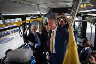 NYC Mayor Bill de Blasio rides the Westbound M23 Select Bus Service and delivers remarks about improving bus service on Friday October, 20, 2017. Edwin J. Torres/Mayoral Photography Office. | by nycmayorsoffice