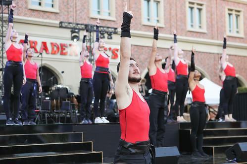 BFA student Justin Epstein hitting final pose in USC Village Opening dress rehearsal