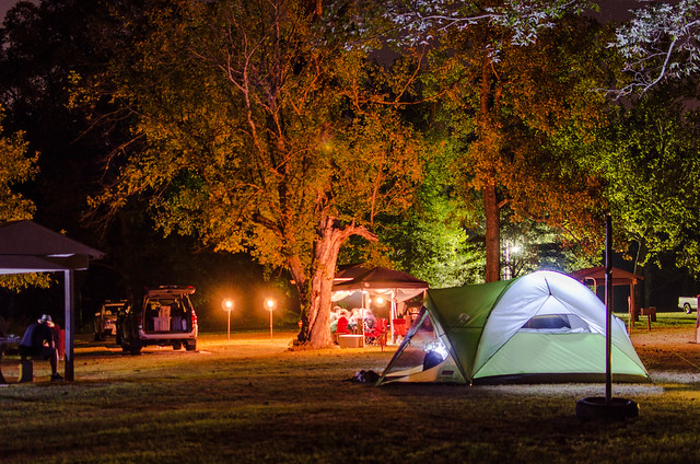 Night campground. Tar Camp Park. Arkansas.