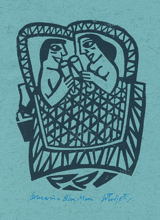 Linocut, Once in a Blue Moon, by Willie Rodger   Linocut, On