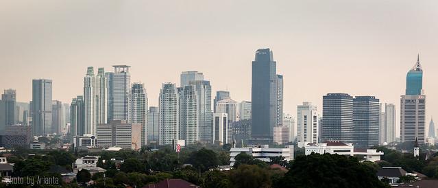 Jakarta downtown in haze.