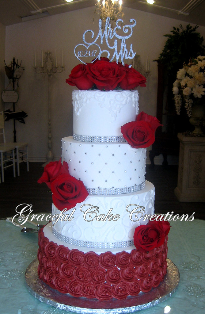 Elegant White Butter Cream Wedding Cake With Burgundy Rose