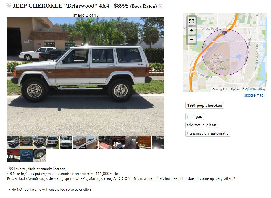 1991 Jeep Cherokee Briarwood On Craigslist These Were Made Flickr