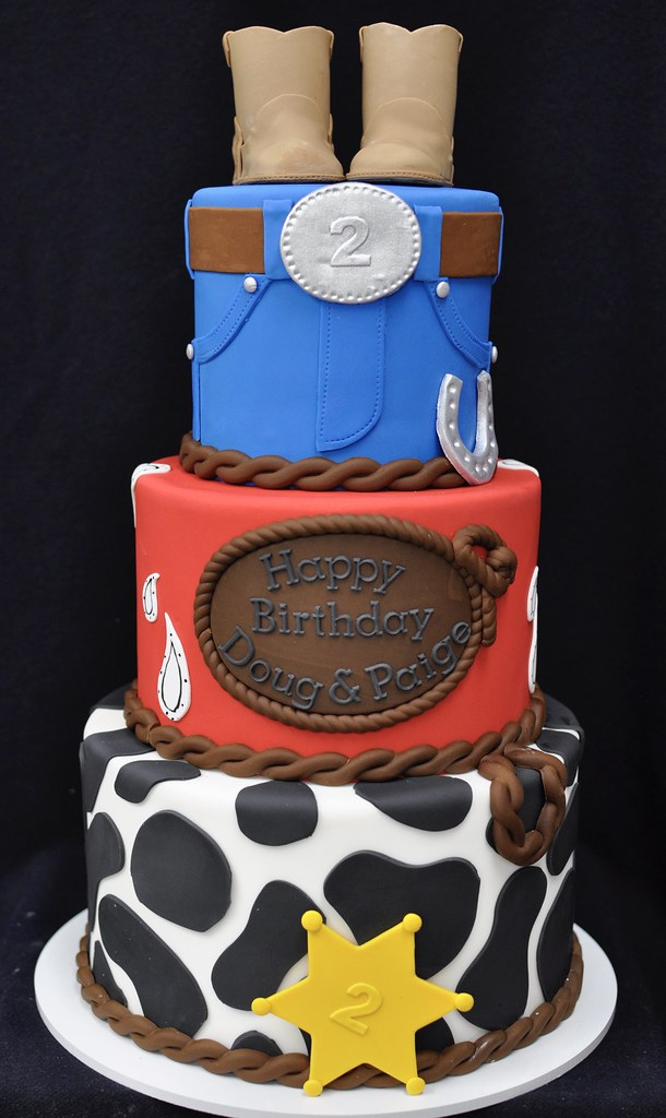 Marvelous Cowboy Cowgirl Birthday Cake Jenny Wenny Flickr Funny Birthday Cards Online Fluifree Goldxyz