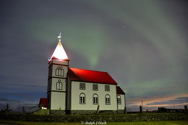 Aurora Over Kálfatjarnarkirkja
