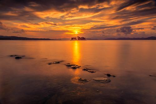 japan sunset sky light cloud weather landscape orange contrast colour bright lake island water nature fall autumn rocks