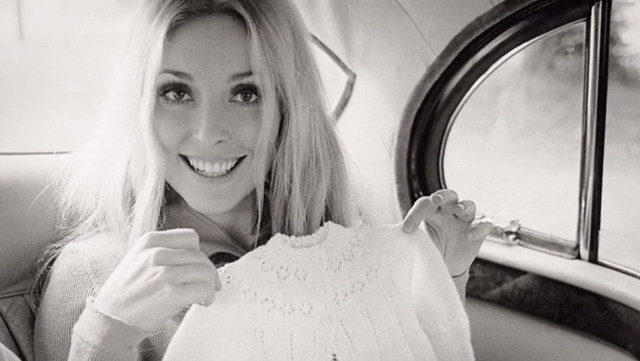 Sharon Tate, Holding New Baby Clothes for Her Unborn Child, 1969