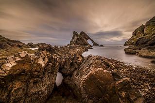 fine art evening colours at the Bow Fiddle Rock, Portknockie, Moray, Scotland