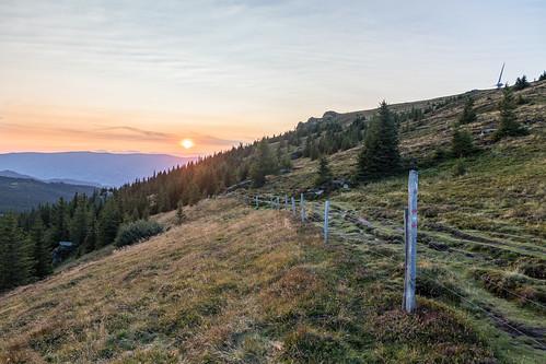austria styria carinthia weinebene sunset landscape fence trees hiking sky grass mountain mountainpass mountaintop hdr
