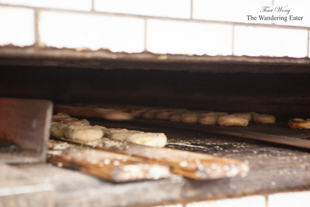 Bagels baking in the wood fired oven