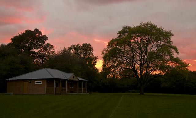 Sunset, Pavilion and tree