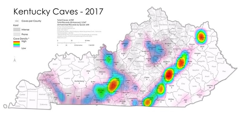 Chuck Sutherland: Kentucky Cave Distribution Map, 2017 on land between the lakes map, iowa map, mississippi map, south carolina map, maine map, montana map, kansas map, texas map, ohio map, ky map, michigan map, state map, idaho map, usa map, colorado map, missouri map, indiana map, new jersey map, minnesota map, virginia map, florida map, louisiana map, north carolina map, tennessee map, california map, maryland map, midwest map, georgia map, illinois map, hawaii map,