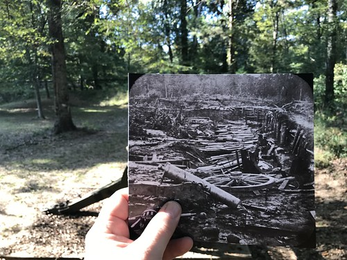 Past and Present view of dismounted Confederate cannon at Fort Desperate, Port Hudson, Louisiana