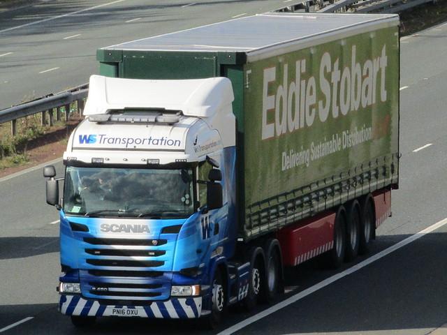 WS Transportation,  Scania R450 With Eddie Stobart Trailer On A1