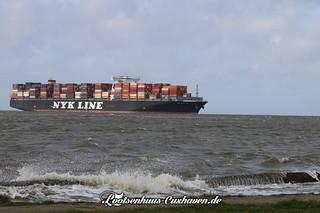 Containerschiff auf der Elbe vor Cuxhaven   by Stilkollektiv