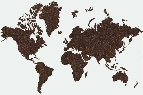 ground coffee in the shape of the continents | by yourbestdigs
