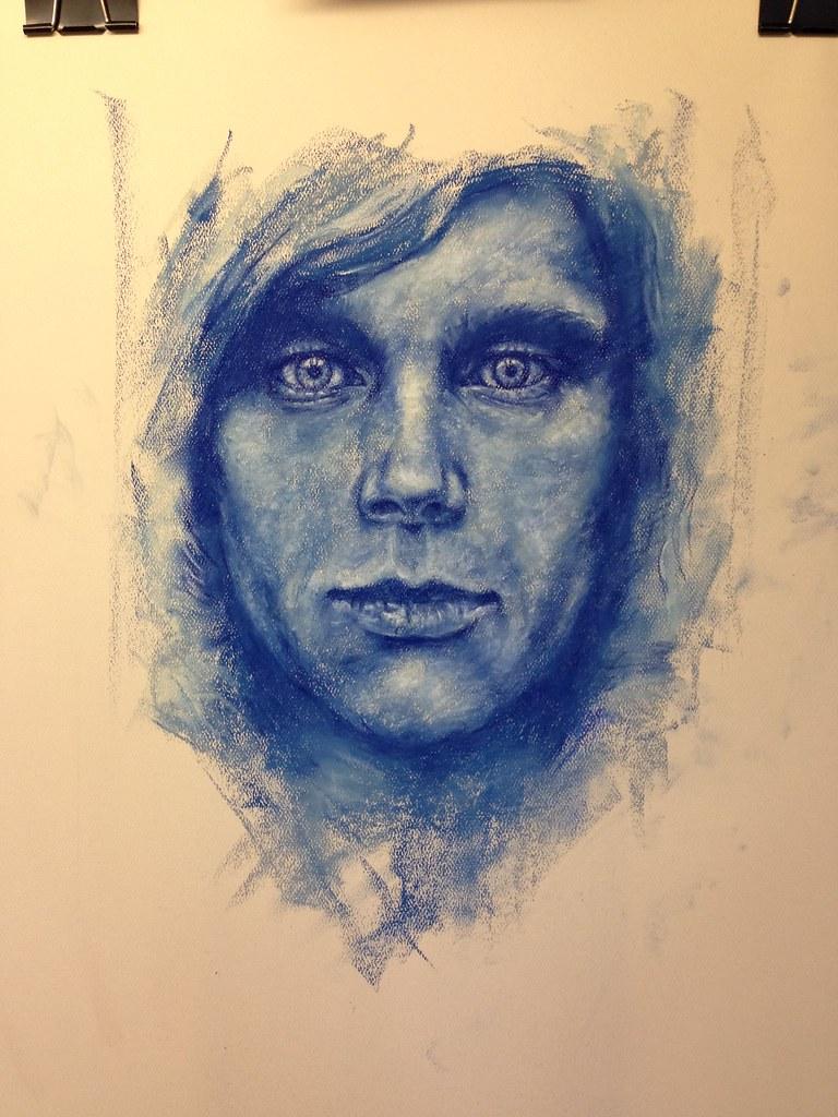 Blue pastel portrait adapted from Flickr member Alessandro Villa's original photography.