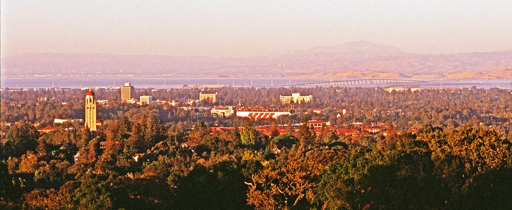 Stanford University, Downtown Palo Alto, the Dumbarton Bridge, and San Francisco Bay, California