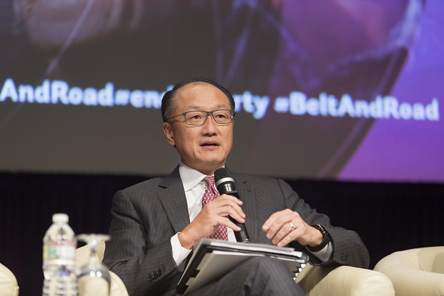 Thu, 10/12/2017 - 14:04 - October 12, 2017 - WASHINGTON, DC. World Bank / IMF 2017 Annual Meetings. The Belt & Road Initiative: Building Bonds Across Asia, Europe and Beyond. Jim Yong Kim, President, World Bank Group; Sri Mulyani Indrawati, Minister Of Finance, Indonesia; Yerbolat Dossayev, Deputy Prime Minister, Kazakhstan; Jin Liqun, President, Asian Infrastructure Investment Bank; Shi Yaobin, Vice Minister Of Finance, China. Moderator: Tanya Beckett, BBC World News. Photo:  World Bank / Simone D. McCourtie