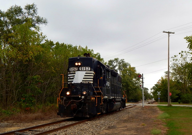 Ex NS high hood moving solo southbound at Hanna Indiana