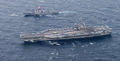 USS Ronald Reagan (CVN 76) and USS Stethem (DDG 63) steam together while conducting a bilateral training exercise with the Republic of Korea Navy, Oct. 18. (U.S. Navy/MC2 Kenneth Abbate)