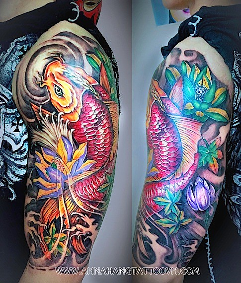 fea7991a7 Koi fish and Lotus half sleeve 254a | www.annahangtattoovn.c… | Flickr