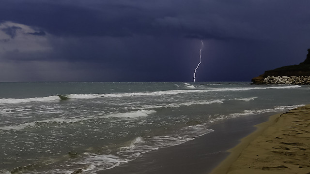 Thunderstorm on the sea at the southeast coast of Sicily