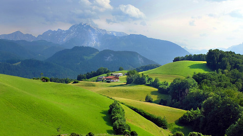 germany bavaria berchtesgadenerland summer meadows sky clouds mountains farmerhouses forest memories europe