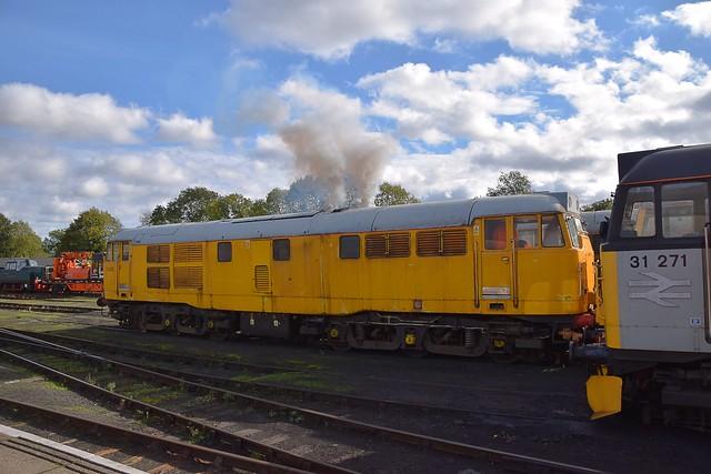 Clag horns, as 31465 engine fires up. Nene Valley Railway Class 31 Gala. 13 10 2017