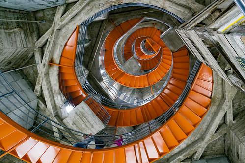 colombia manizales manizalescathedral church spire spiral orange canon 7d leaningladder