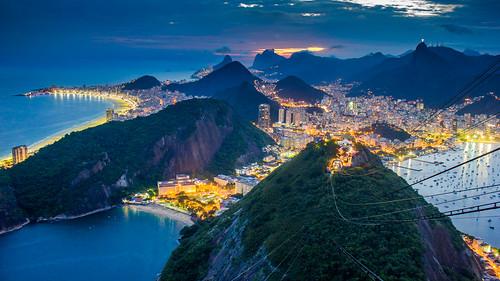 brazil rio de janeiro twilight sugar loaf copacabana