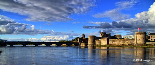 castle bridge sky blue water panorama kingjohn limerick countylimerick ireland outdoor landscape gray river shannon rivershannon canon eos 7d slr ancient oldireland