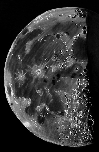 Sketch of 54% Waning Gibbous Moon on 22/10/16  (Sketched during October 2017)