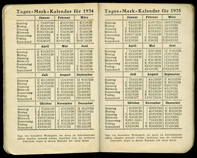 Archiv N799 Tages-Merk-Kalender, 1934