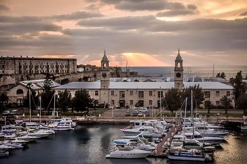 bermuda royal navy dockyard atlantic ocean clouds rays