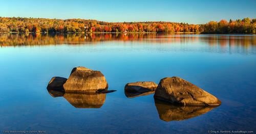 autumn wassookeag lakewassookeag maine mainehighlands landscape reflection foliage boulders calm peaceful nature dexter dextermaine penobscotcounty lake water pond