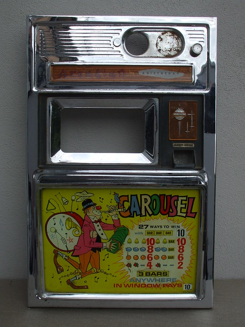 Vintage Arcadian by Aristocrat Carousel Chrome Amusement Arcade Fruit Machine Frontage With One Man Band Clown 1950's 60's