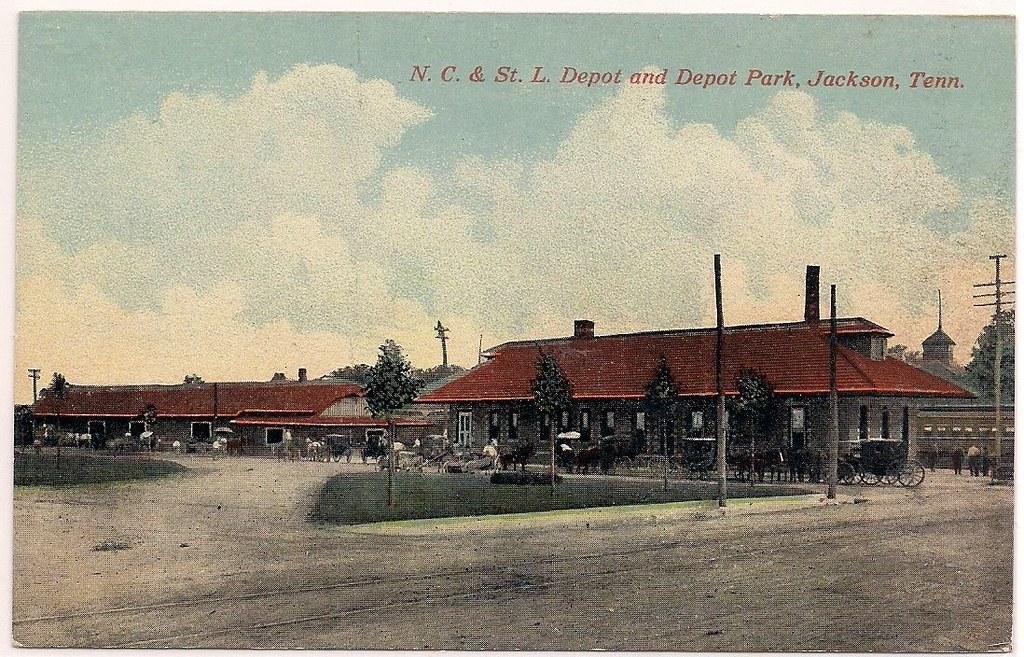1907 Postcard N C St L Depot And Depot Park Jackso