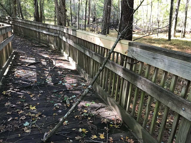 Knightdale Environmental Park appears neglected.  It is within walking distance of the Library.