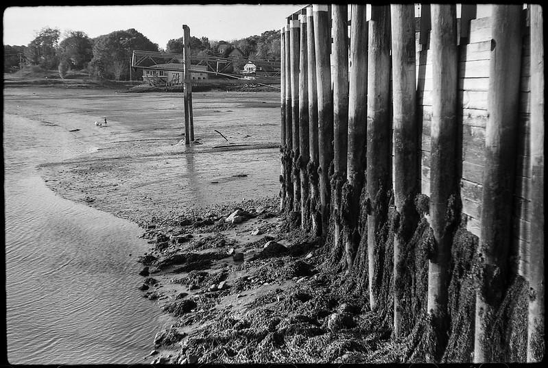 harbor, low tide, public landing, Thomaston, Maine, FED 4, Industar 26 (50mm, F2.8), Ilford FP4+, Moersch Eco Film Developer, 10.21.17