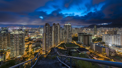 sunset hongkong bluehour magichour night city urban kowloon building cityscapes hill color colors blue yellow road panorama