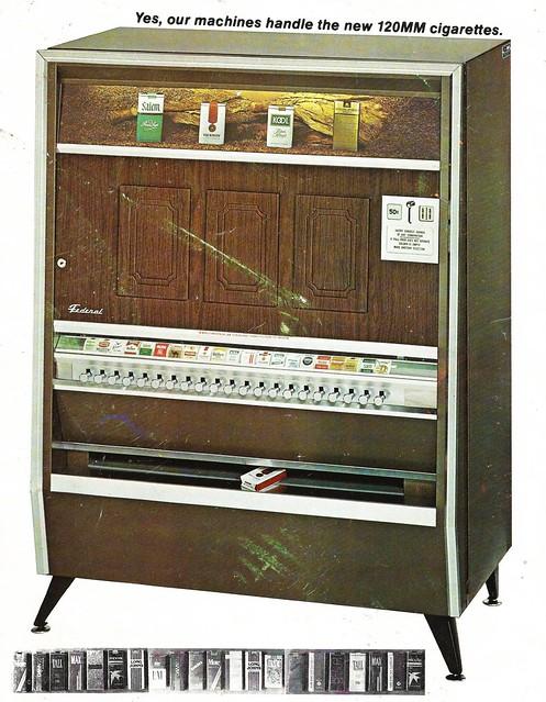 Cigarette machine, circa 1975