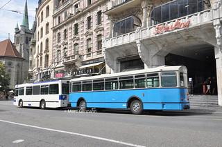 Trolleybus NAW BT-25 n°751, avec la remorque de Formation n°933 en service sur le réseau tl. © Marc Germann