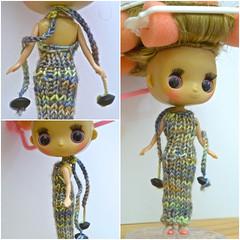 Dollcena in handknit dress