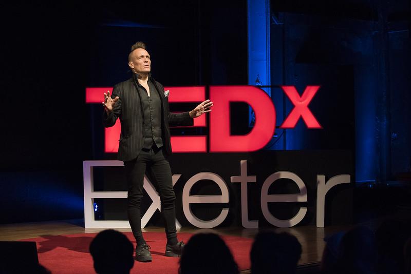 John Robb speaking at TEDxExeterSalon 2017