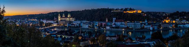 Passau at Blue Hour - Lower Bavaria, Germany