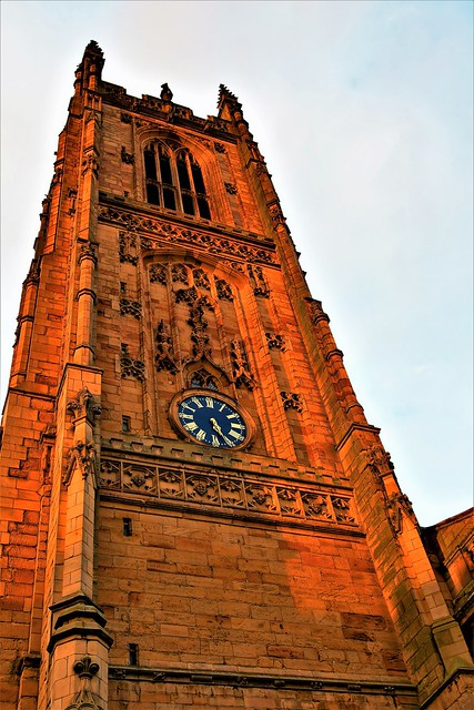 Autumnal light at dusk, cast over Derby Cathedral Tower, before the clock went back.