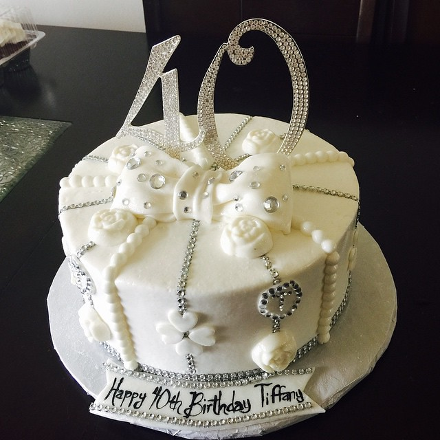Phenomenal 40Th Birthday White And Bling Cake Buttercream With Fonda Flickr Birthday Cards Printable Inklcafe Filternl