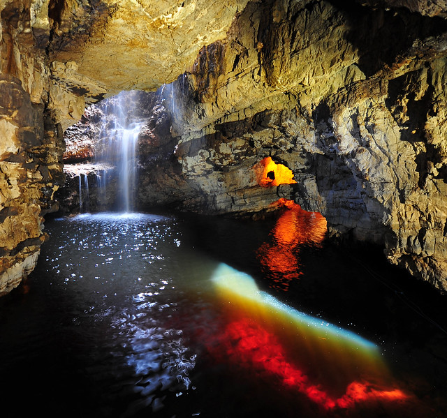 Smoo Cave with sunlight